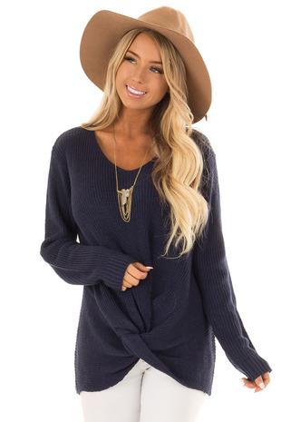 Navy Long Sleeve Knit Sweater with Front Knot front close up