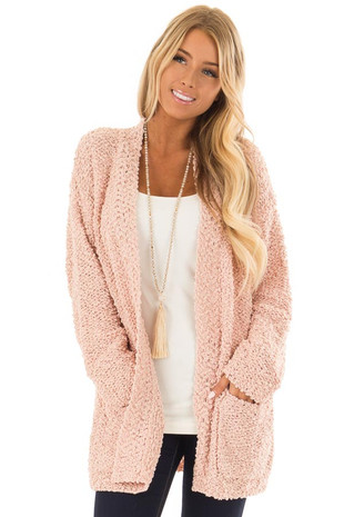 Dusty Pink Long Sleeve Open Front Cardigan with Pockets front close up
