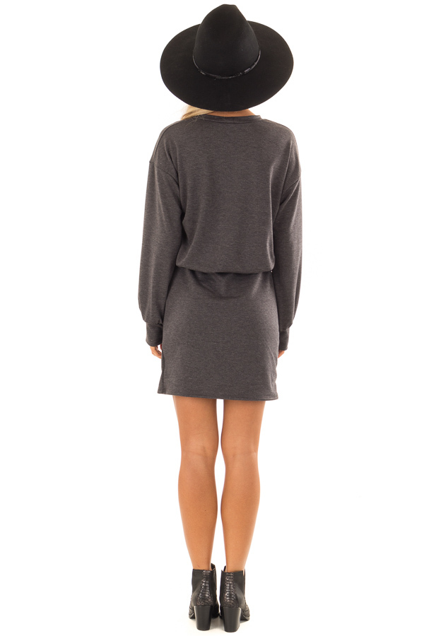 Charcoal French Terry Dress with Long Cuffed Sleeves back full body