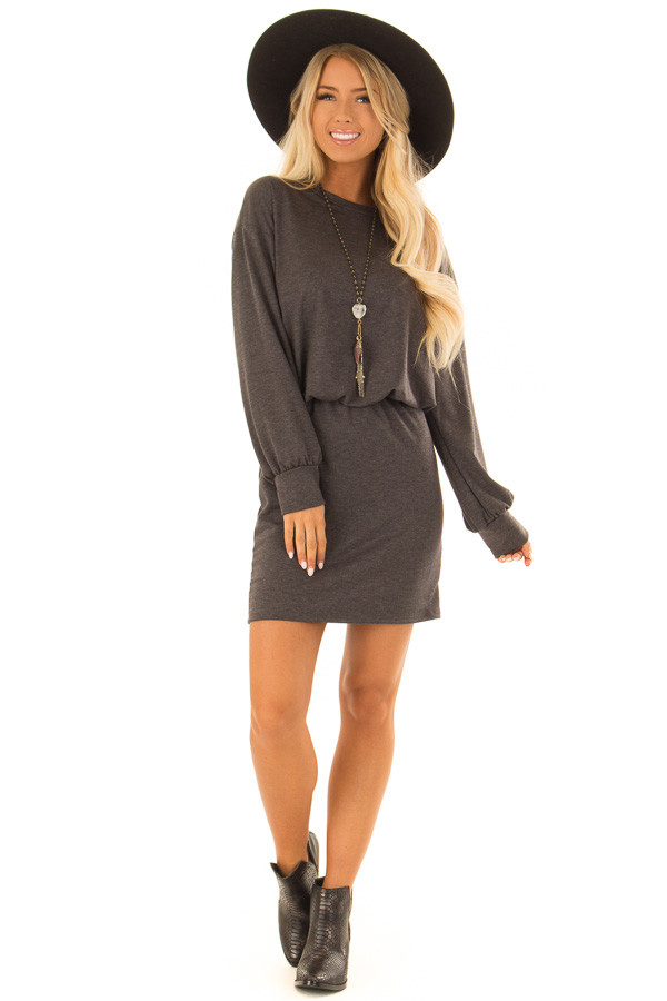 Charcoal French Terry Dress with Long Cuffed Sleeves front full body