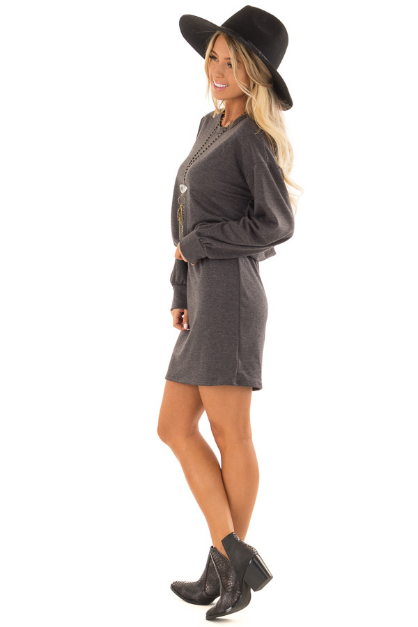 Charcoal French Terry Dress with Long Cuffed Sleeves side full body