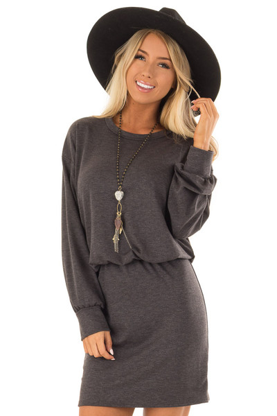 Charcoal French Terry Dress with Long Cuffed Sleeves front close up