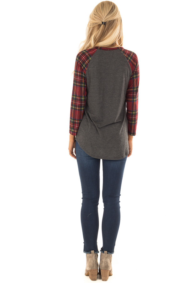 Charcoal and Red Plaid Raglan Top with 3/4 Sleeves back full body