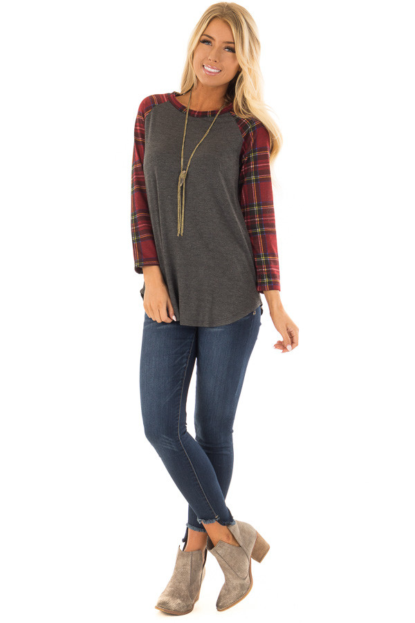 Charcoal and Red Plaid Raglan Top with 3/4 Sleeves front full body