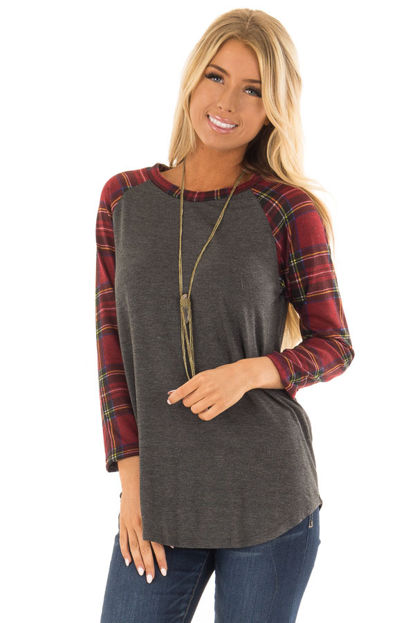Charcoal and Red Plaid Raglan Top with 3/4 Sleeves front close up