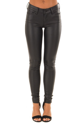 Black Mid Rise Faux Leather Skinny Pants front view