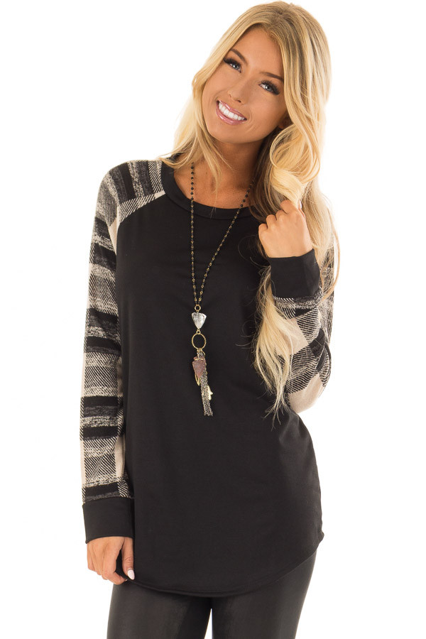 Black Sweater Top with Plaid Raglan Sleeves front close up