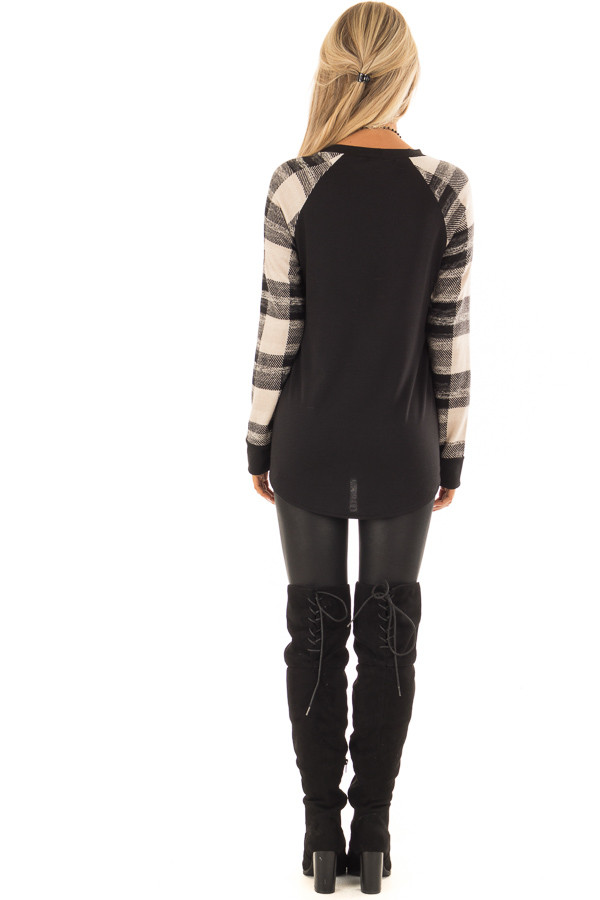 Black Sweater Top with Plaid Raglan Sleeves back full body