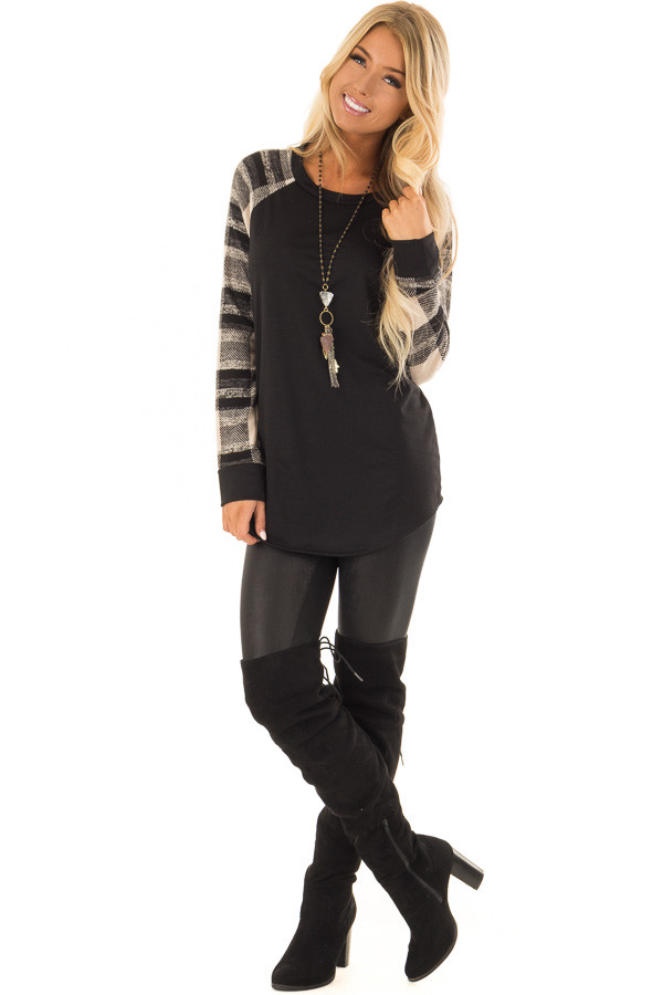Black Sweater Top with Plaid Raglan Sleeves front full body