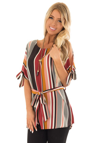 Multi Striped Cold Shoulder Top with Tie Detail on Sleeves front close up