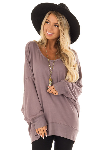 Midnight Reversible Long Batwing Sleeve Crossover Top front close up