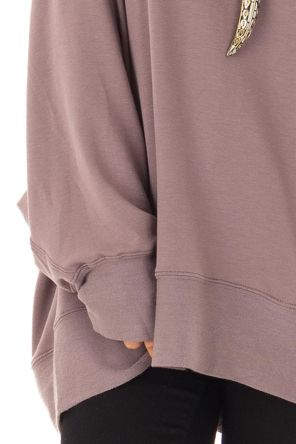 Midnight Reversible Long Batwing Sleeve Crossover Top detail