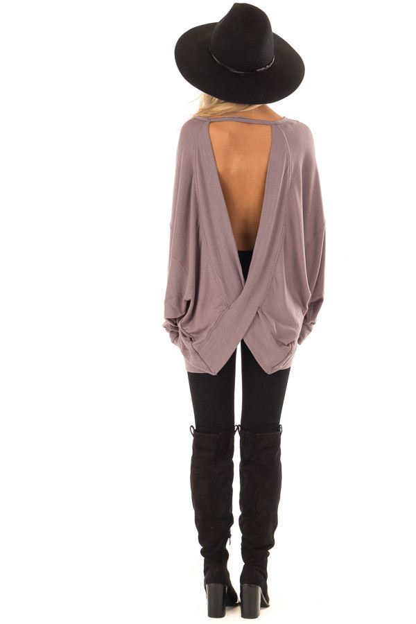 Midnight Reversible Long Batwing Sleeve Crossover Top back full body