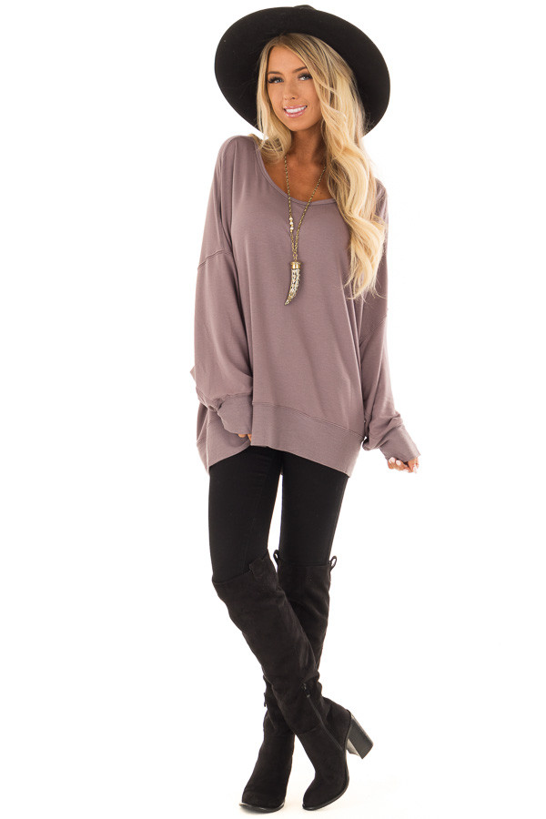 Midnight Reversible Long Batwing Sleeve Crossover Top front full body