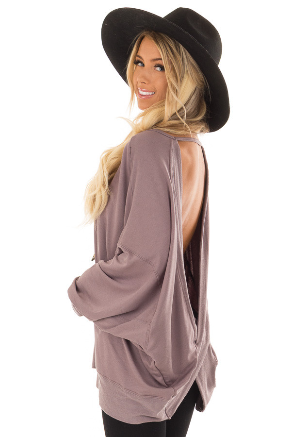 Midnight Reversible Long Batwing Sleeve Crossover Top back side close up