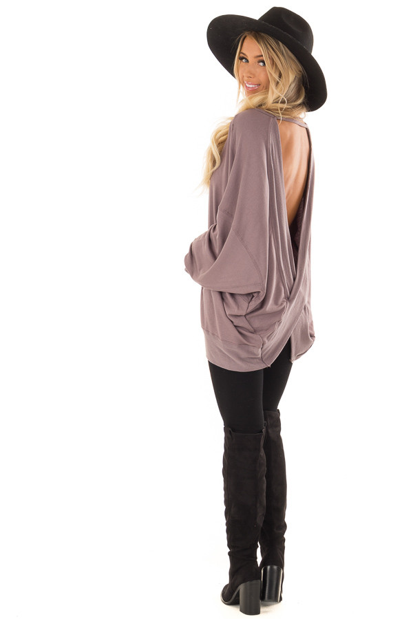 Midnight Reversible Long Batwing Sleeve Crossover Top back side full body