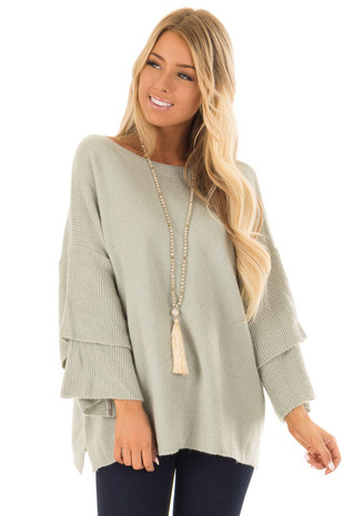 Sage Boatneck Sweater with Tiered 3/4 Bell Sleeves front close up