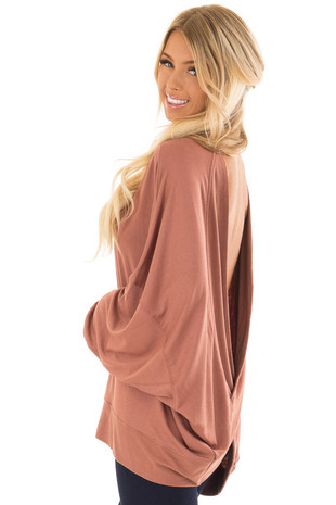 Cinnamon Reversible Long Batwing Sleeve Crossover Top back side close up