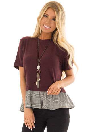 Wine Short Sleeve Top with Checkered Print Hemline front close up