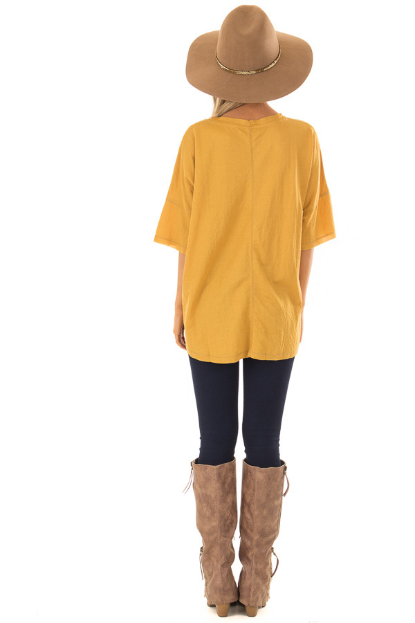 Mustard Button Up Top With Knot Tie Detail back full body