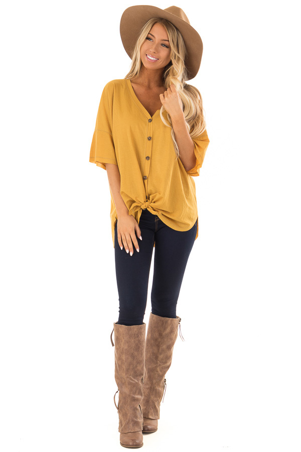 Mustard Button Up Top With Knot Tie Detail front full body