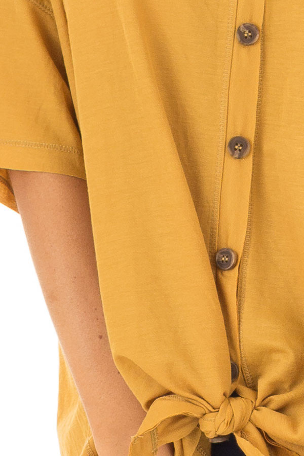 Mustard Button Up Top With Knot Tie Detail detail