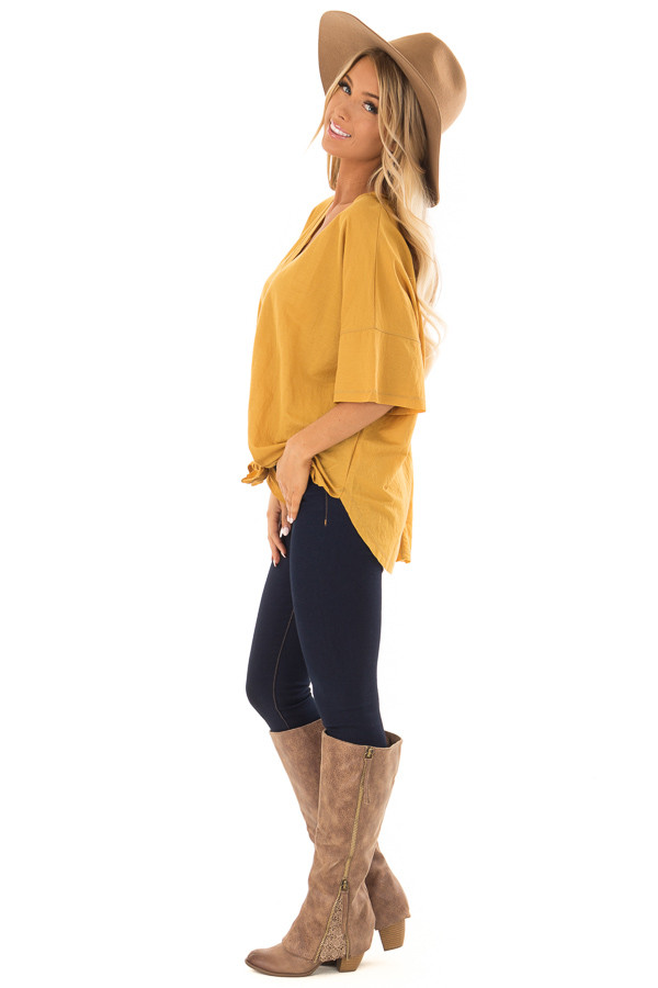Mustard Button Up Top With Knot Tie Detail side full body