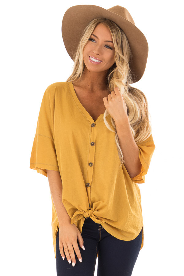 Mustard Button Up Top With Knot Tie Detail front close up