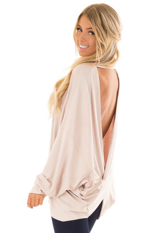 Dusty Blush Reversible Long Batwing Sleeve Crossover Top back side close up