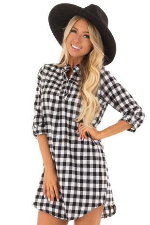 Black and White Checkered Dress with 3/4 Sleeves front close up