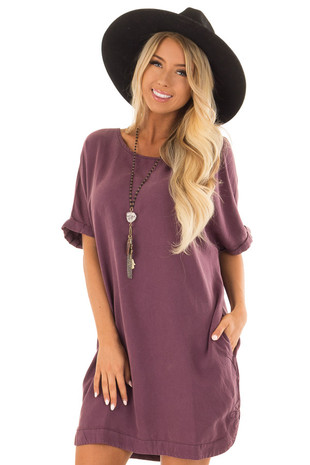 Eggplant Loose Dress with Cuffed Sleeves and Pockets front close up