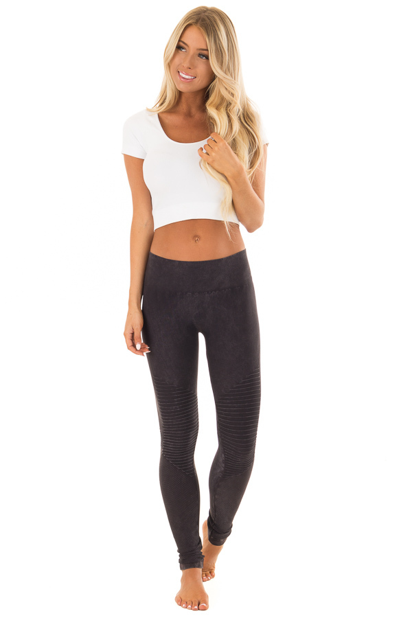 Comfy Vintage Black Moto Leggings with Stitched Detail front full body