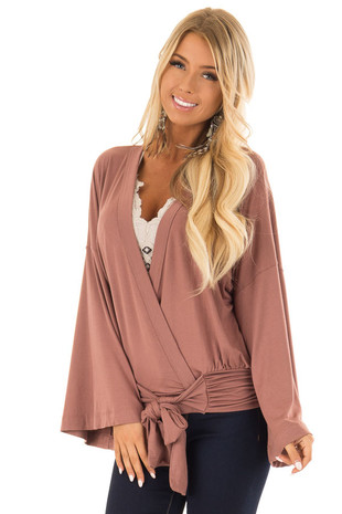 Dusty Rosewood 3/4 Sleeve Surplice Top front close up