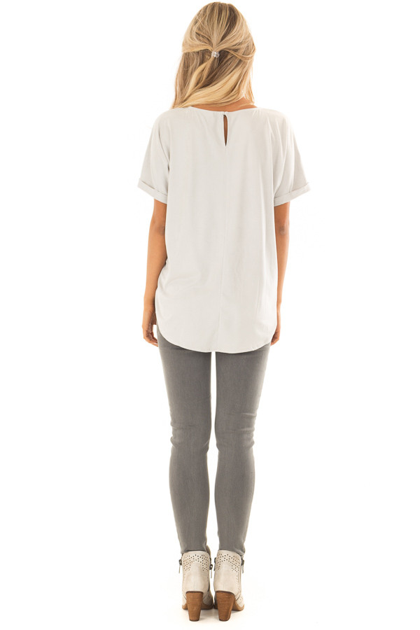 Cloudy Sage Faux Suede Top with Cuffed Sleeves back full body