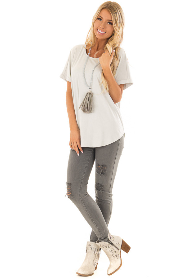 Cloudy Sage Faux Suede Top with Cuffed Sleeves front full body