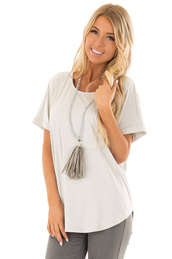 Cloudy Sage Faux Suede Top with Cuffed Sleeves front close up