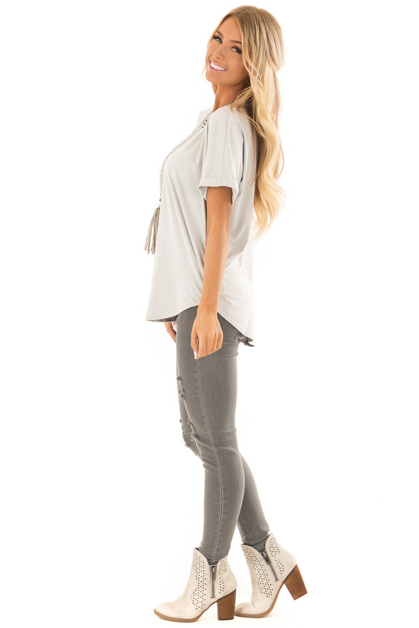 Cloudy Sage Faux Suede Top with Cuffed Sleeves side full body