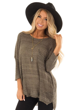 Olive 3/4 Length Sleeve Sheer Knit Top with Chest Pocket front close up