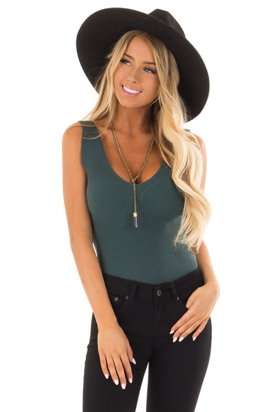 Dark Teal Sleeveless Ribbed Bodysuit front close up