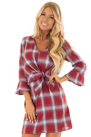 Burgundy Plaid Dress with 3/4 Bell Sleeves front close up
