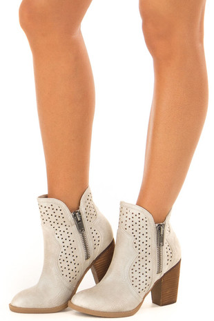 Cream Wooden Heeled Bootie With Cutout Detail and Zippers front side view