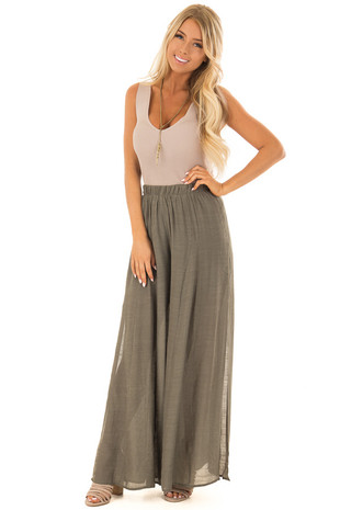 Olive Wide Leg Comfy Pants with High Side Slits front full body
