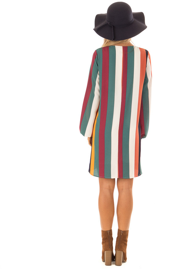 Multi Color Striped Woven Dress with Bishop Sleeves back full body