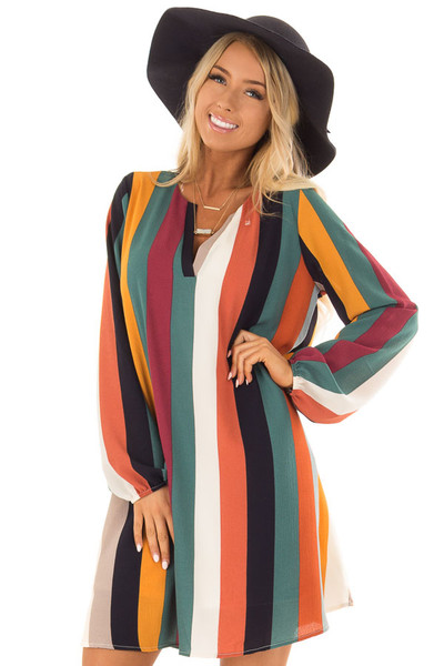 Multi Color Striped Woven Dress with Bishop Sleeves front close up
