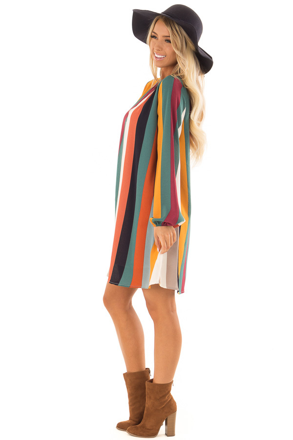 Multi Color Striped Woven Dress with Bishop Sleeves side full body