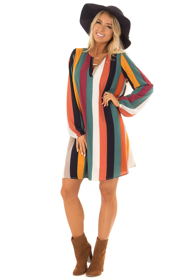 Multi Color Striped Woven Dress with Bishop Sleeves front full body