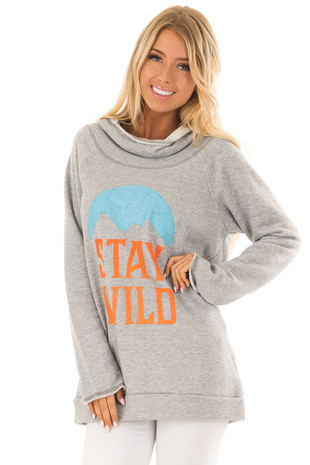 Heather Grey 'Stay Wild' Graphic Hoodie front close up