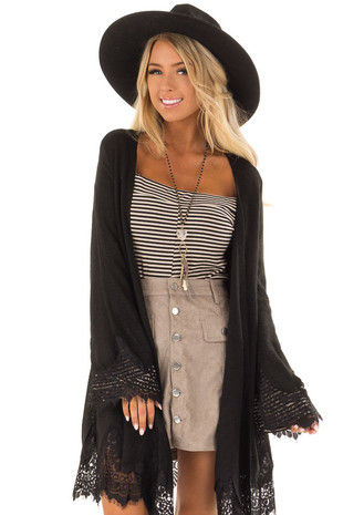 Black Open Cardigan with Lace Trim Detail front close up