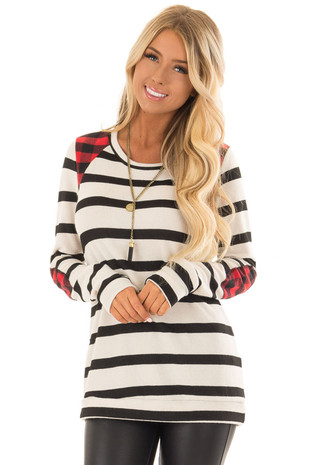Ivory Striped Sweater with Plaid Elbow and Shoulder Patches front close up