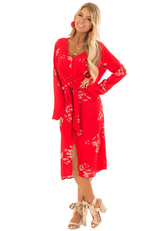 Lipstick Red Floral Button Up Tie Waist Midi Dress front full body